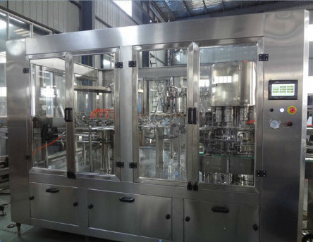 Hot Water 3 In 1 Filling Machine With Hanging Type Conveying - Bottle Structure